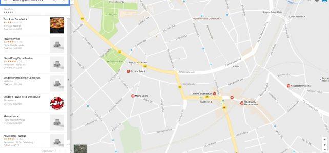 Google Maps Suche; Pizzabringdienst Osnabrück